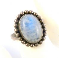 Doug Paulus Moonstone Ring, Large Sterling Silver Dress Ring